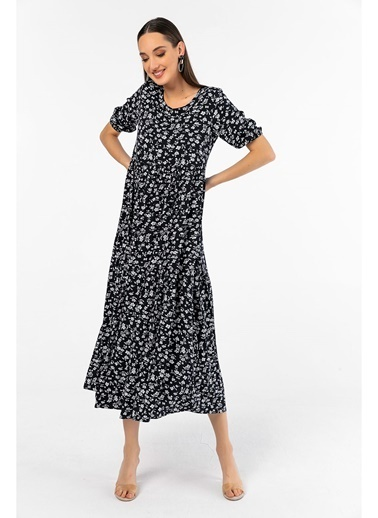 Tiffany&Tomato Çiçek Desenli Kısa Kollu Uzun Elbise-Tarçın Lacivert